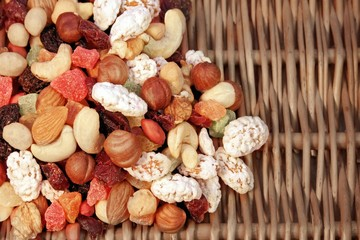 Nuts mix and dried fruits background texture