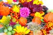 Herbstfrüchte und Herbstblumen
