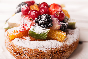 Traditional French dessert with fruits and berries