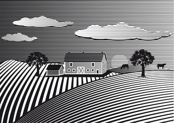 Landschaft mit Bauernhof