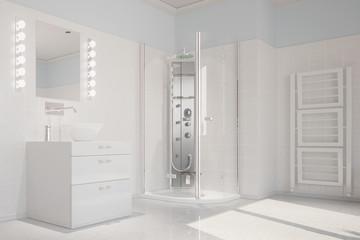 Weißes Bad mit Dusche und Waschbecken