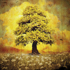 Lonely tree on meadow with daisies grunge style