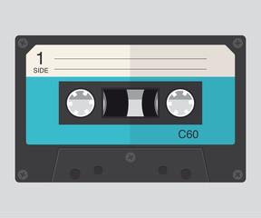 Audio tape cassette record, flat design.