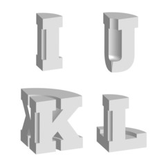 Abstract alphabet vector 3D