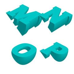 Abstract alphabet vector 3D