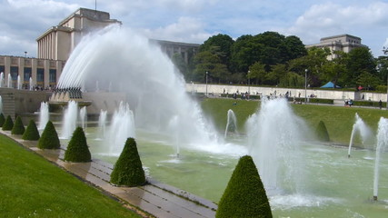 Trocadero, cannon fountains near the Eiffel Tower, Paris France