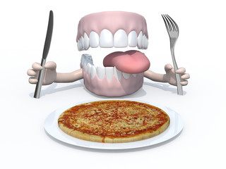 open mouth with hands, fork and knife in front of a pizza dish
