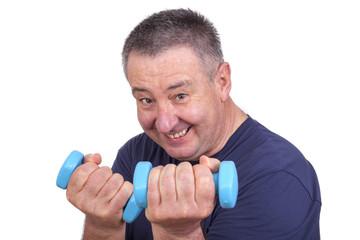 Elderly man with dumbbells during sport