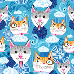 pattern funny portraits of dogs and cats