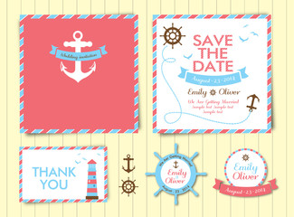 wedding invitation card template, nautical style, maritime
