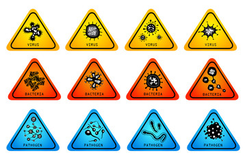 monsters virus bacteria icon set - vector illustration