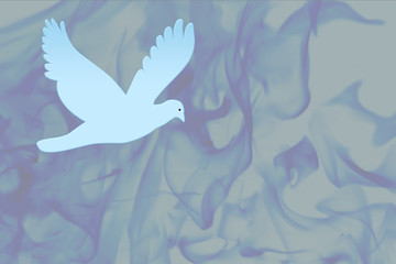 fond oiseau flammes bleues