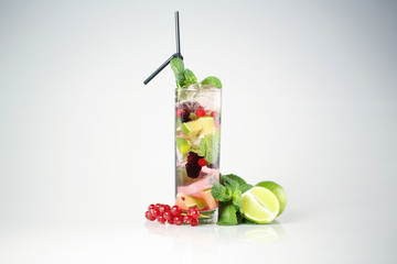 Delicious cocktail with fruits