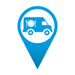 Icono localizacion simbolo furgoneta de catering