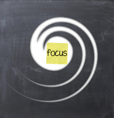 Focus text concept on a sticky note glued on a blackboard