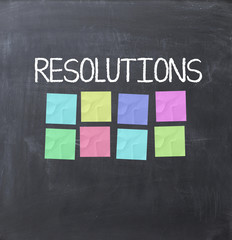Resolutions concept on a blackboard