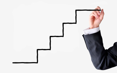 businessman hand drawing ladder suggesting career growth