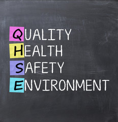 Quality health safety and environment text on blackboard