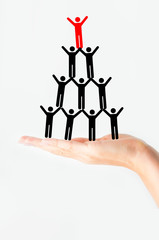 Teamwork concept or a great leader of organization