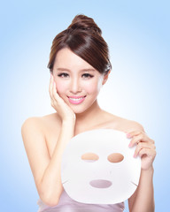 happy Young woman with cloth facial mask