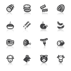 Meat flat icons with reflection