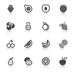 Fruit flat icons with reflection