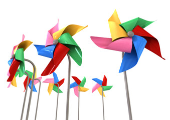 Colorful Pinwheels Isolated