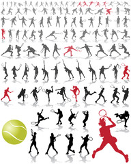 Silhouettes and shadows of tennis players, vector illustration