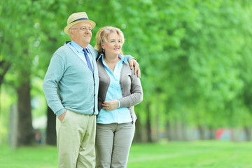Mature couple standing in a park