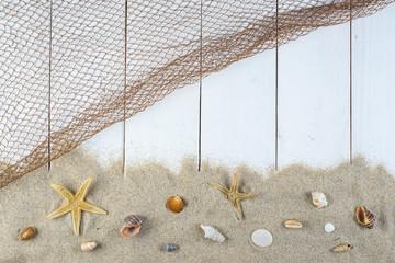 Fondo en blanco de vacaciones verano y playa para publicidad