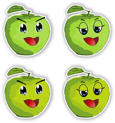 Smiling manga style apples-sticker