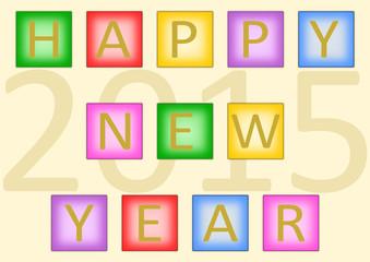Happy New Year 2015 auf farbigen Kacheln