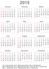 Kalender 2015 mit Feiertagen für die USA - Wochenbeginn Sonntag