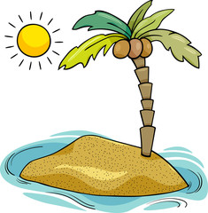 desert island cartoon illustration