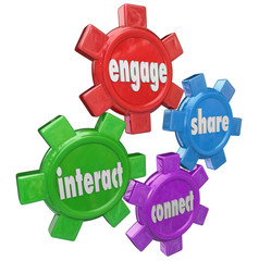 Engage Interact Share Connect Words Gears Information