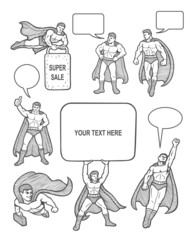 Male superhero icons sketch