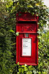 Red post box, Devon, England