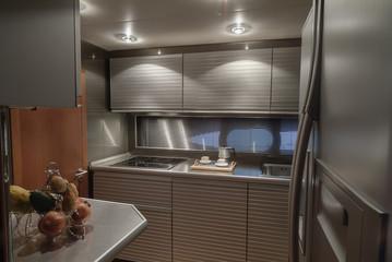 Italy, Naples, Atlantica luxury yacht, dinette, kitchen area