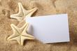 Starfish and blank paper sheet on beach - 64985363