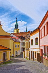 Street and historic buildings in Pribram city in Czech Republic