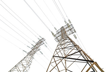 two electrical pylons isolated on white
