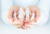 hands woman expresses the concept of family - 64985752