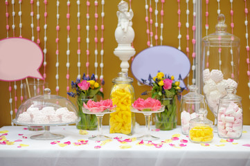 Elegant sweet table or candy bar