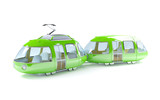 green cartoon tram two wagon