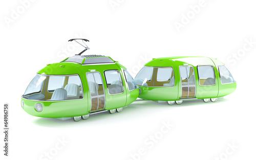 green cartoon tram two wagon - 64986758