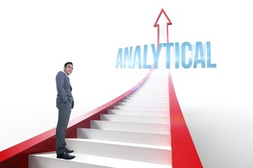 Analytical against red arrow with steps graphic