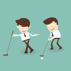 Partnership concept - Business Talk while playing Golf