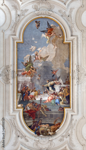 Venice - Saint Dominic with the rosary and Madonna.