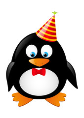 Cute penguin with party hat