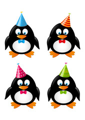 Set of funny penguins with party hats